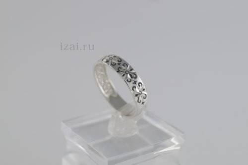 Кольцо с узором из серебра и золота опт и розница (2)