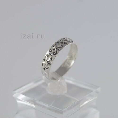 Кольцо с узором из серебра и золота опт и розница (3)