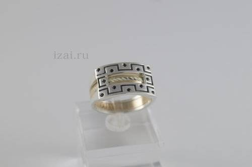Перстень мужской из золота и серебра купить оптом и в розницу (1)