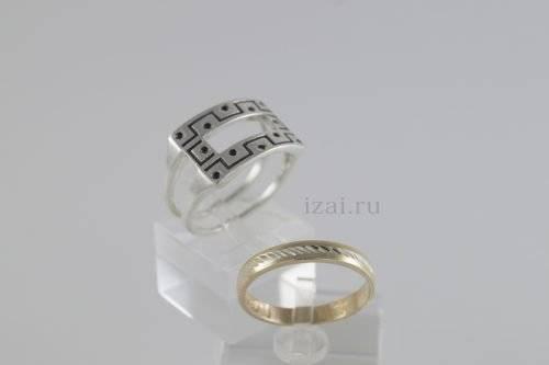 Перстень мужской из золота и серебра купить оптом и в розницу (4)