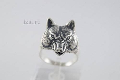 Кольцо волк или с головой волка из серебра и золота. izai (3)
