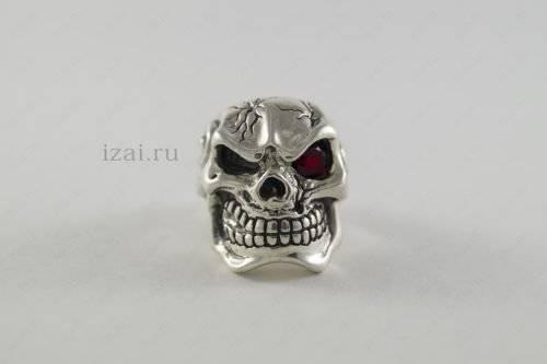 Кольцо череп с камнем. Серебро Золото. izai (2)