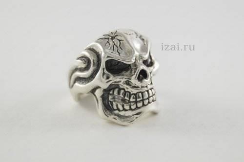 Кольцо череп с камнем. Серебро Золото. izai (1)