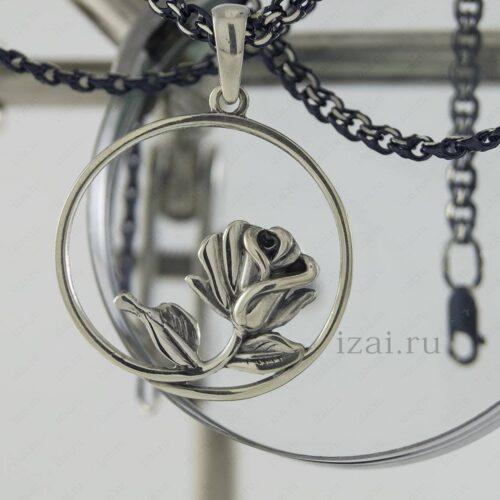 кулон роза из серебра или золота. izai