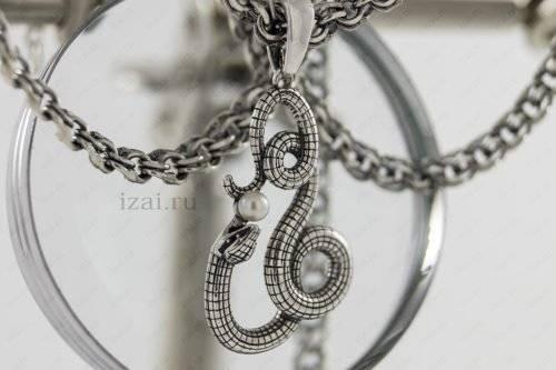 Змея с жемчугом из серебра. Фото. izai.ru Ювелирная Мастерская (1)
