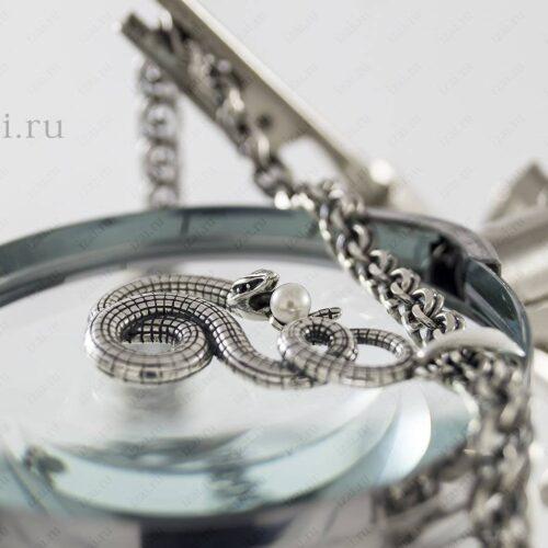 Змея с жемчугом из серебра. Фото. izai.ru Ювелирная Мастерская (7)