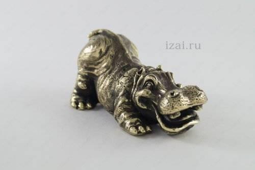 Сувенир Бегемот №6977 из латуни серебро золото