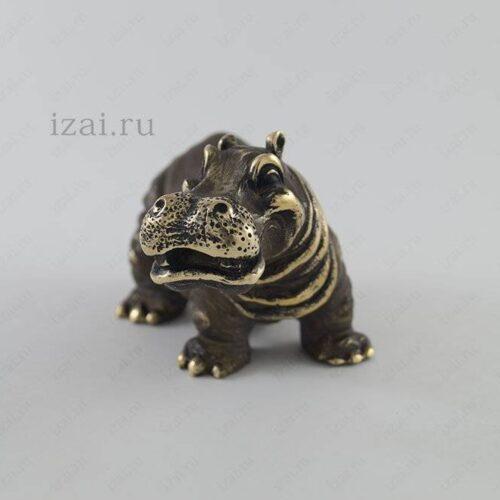 Сувенир Бегемот №6876 Латунь Серебро Золото