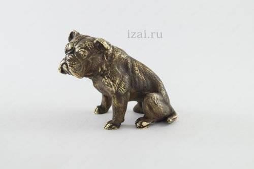 Сувенир Собака (Бульдог) №6890 из латуни серебра или золота