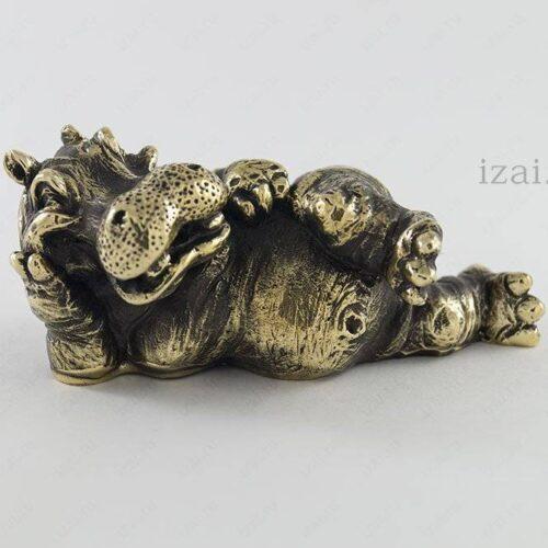 Сувенир Бегемот №6955 из латуни серебро золото
