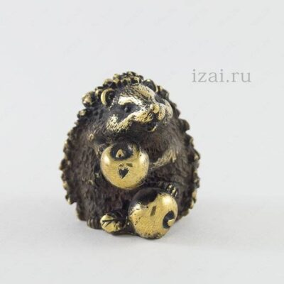Сувенир Ёж с Яблоком №6880 Латунь Серебро Золото