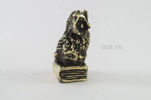 Сувенир Сова на книжке №5897 из латуни серебро золото