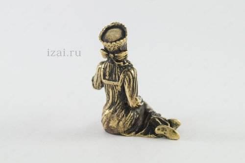 Сувенир Девушка с цветами №6925 из латуни серебро золото