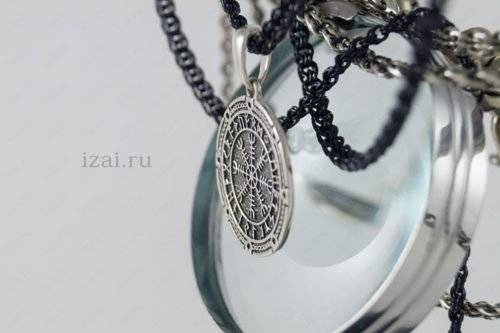 Скандинавский Оберег Шлем Ужаса в Футарке №5685 из серебра золота