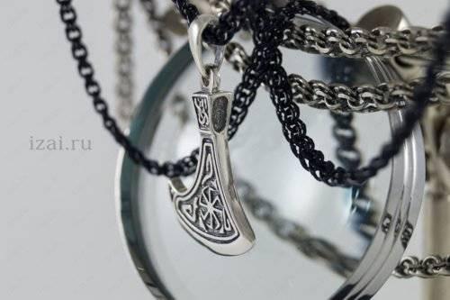 Славянский Оберег Секира Перуна с Коловратом №4423 из серебра золота