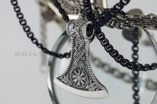 Скандинавский Оберег Секира - Черное Солнце №1447 из серебра золота