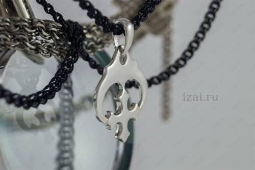 Славянский Оберег Лунница Крест №5633 из серебра золота