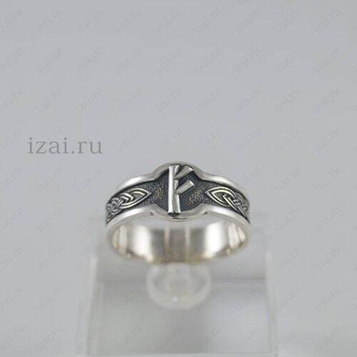 Кольцо Руна Феху №6006 из серебра золота