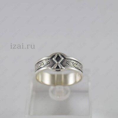 Кольцо Руна Одал №6030 из серебра золото