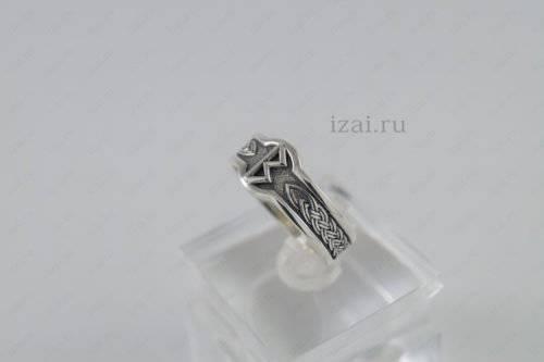 Кольцо Руна Беркана №6060 из серебра золото