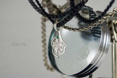 Кулон со знаком зодиака Близнецы с камнем. №7406