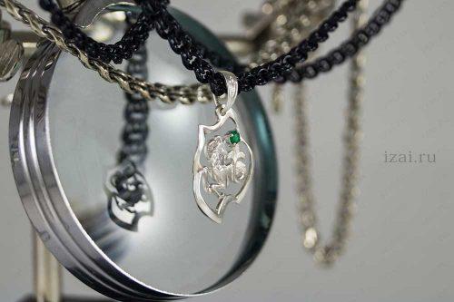 Кулон со знаком зодиака Козерог с камнем. №7400