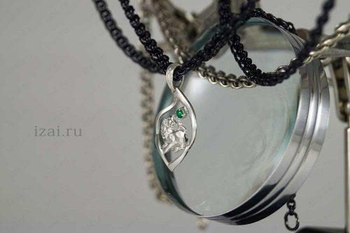 Кулон со знаком зодиака Лев с камнем. №7408