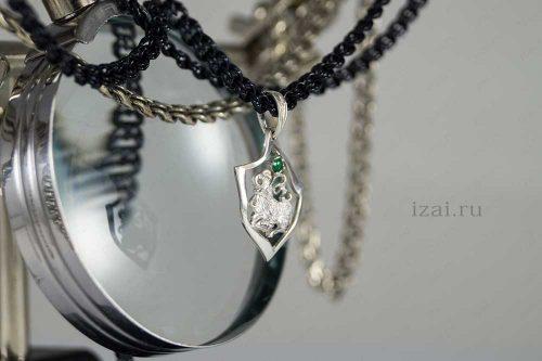 Кулон со знаком зодиака Овен с камнем. №7404