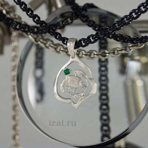 Кулон со знаком зодиака Рак с камнем. №7403