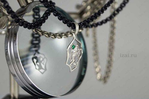 Кулон со знаком зодиака Стрелец с камнем. №7402